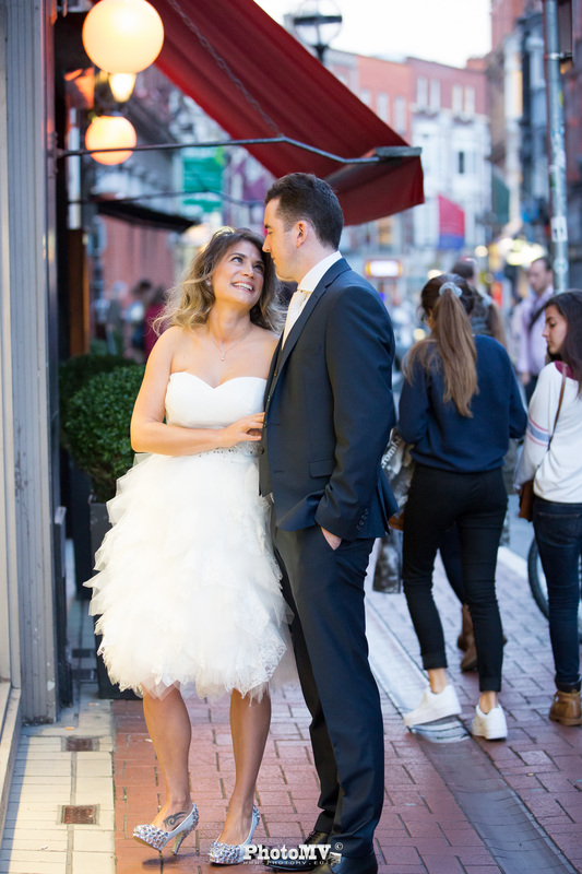 Candid wedding photography in Dublin streets