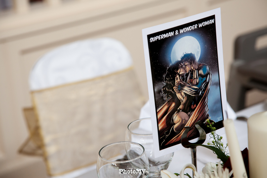 Superhero themed table cards