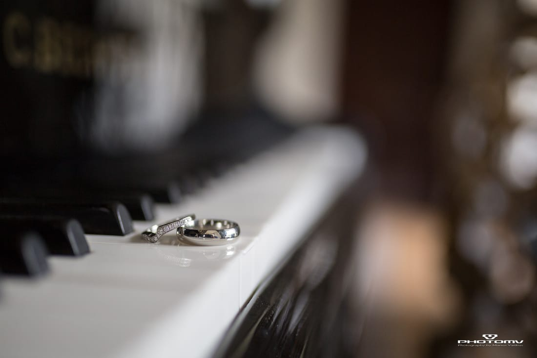 Wedding rings on a piano. photo by www.photomv.eu