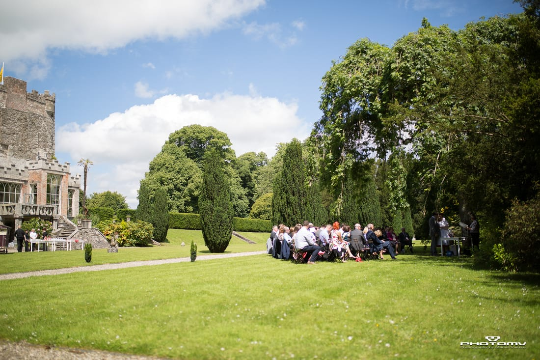 Wedding ceremony outside Huntington Castle