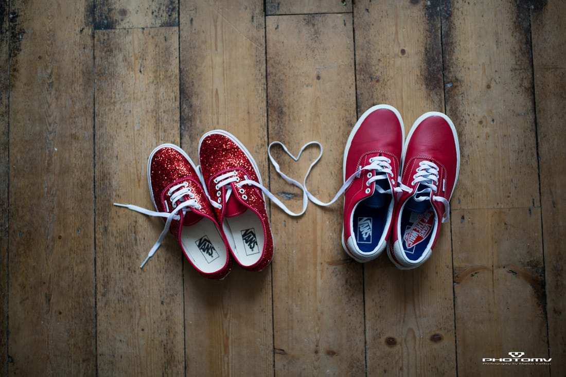 Creative and alternative wedding photographer PhotoMV. Love heart with a Vans shoes