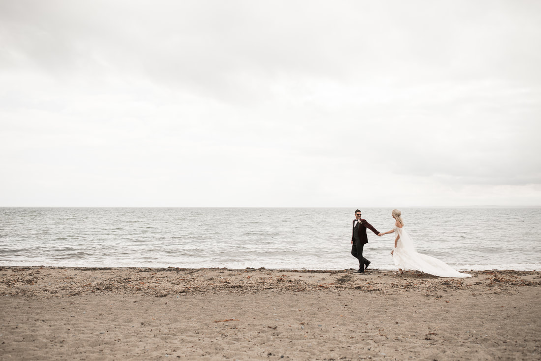 Bride and groom on a beach in Dundalk