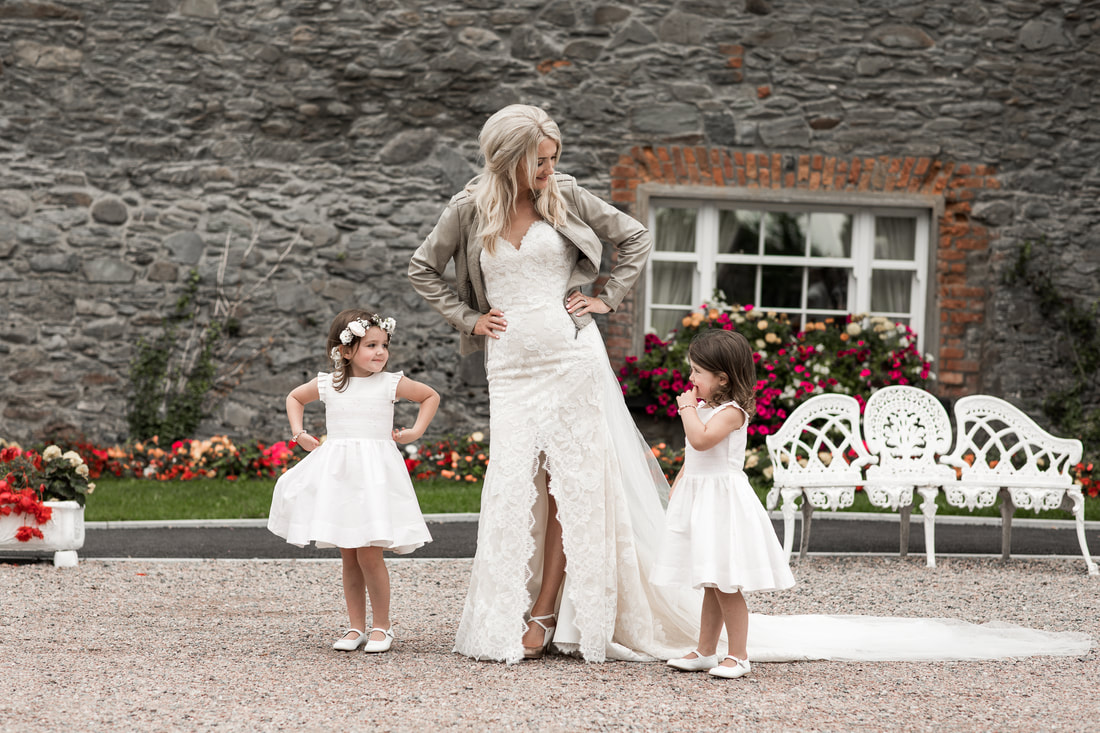Bride with 2 little girls