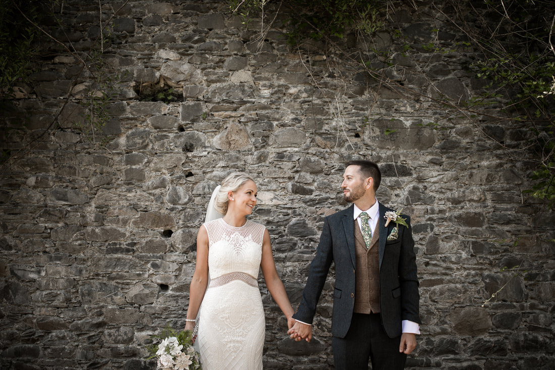 creative wedding photo at bellingham castle