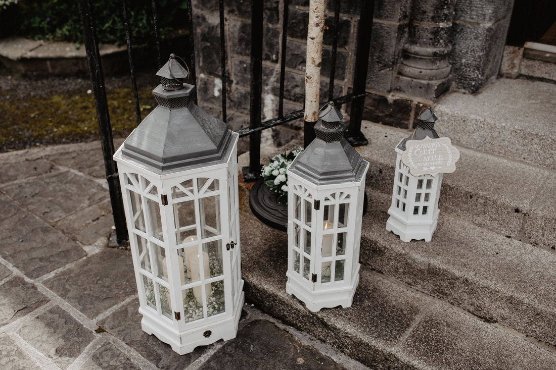 Lanterns at a church, wedding decor