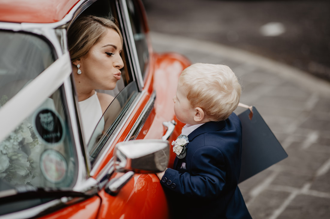 Emotional moments, little boy meet his mom the bride