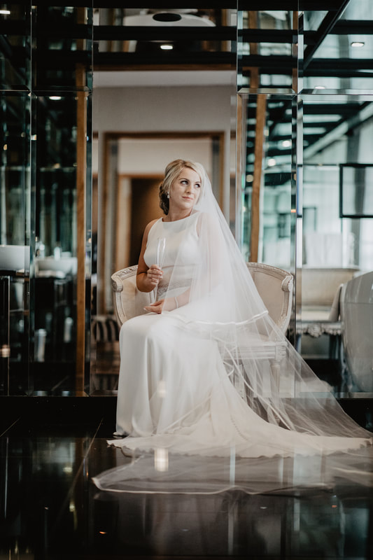 Bride at the bridal suit in The G hotel, Galway