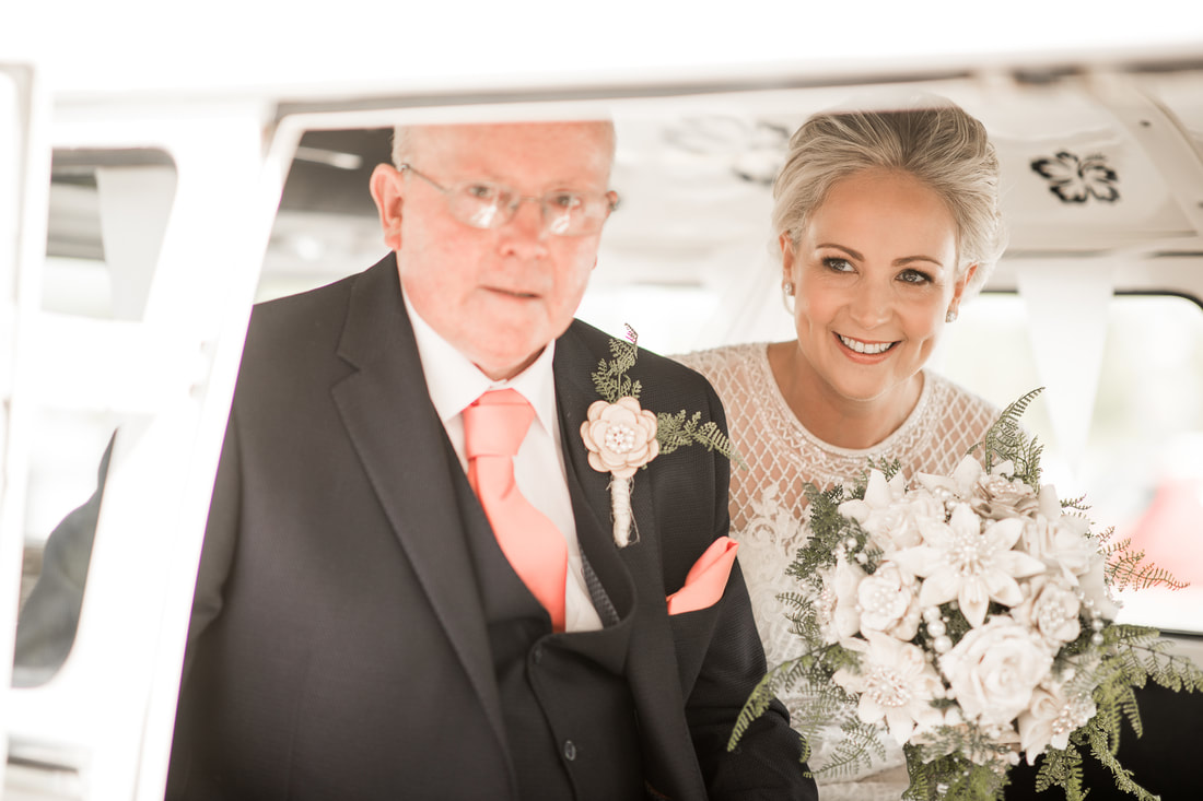 bride and father in a car