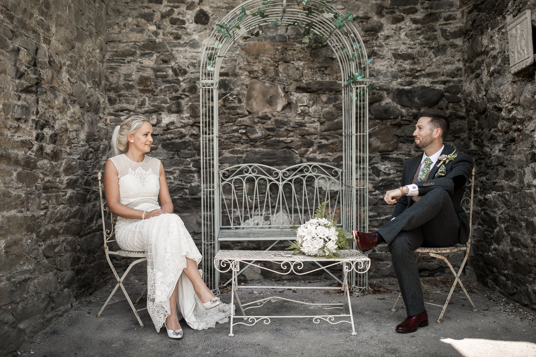Bride and groom at Bellingham castle wedding