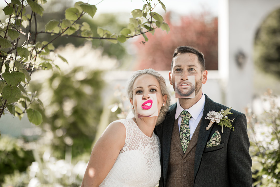 Fun bride and groom faces at a wedding