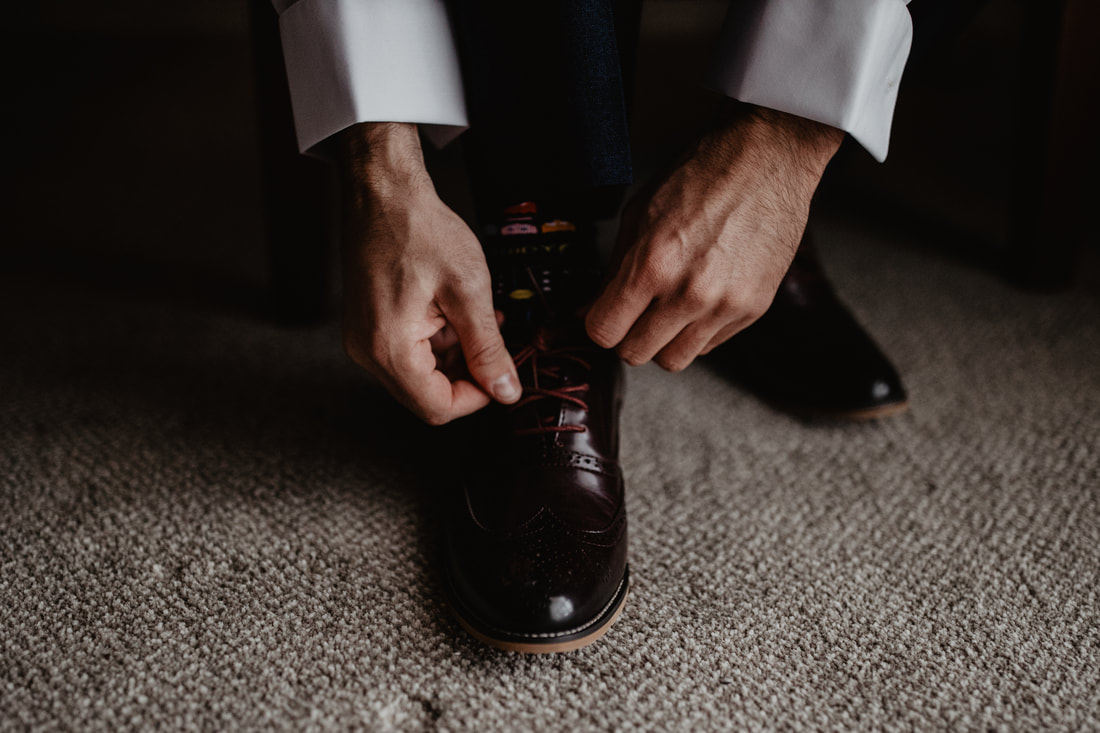 Groom's shoes at Clanard Court Hotel, Athy, Co. Kildare by wedding photographer Mario Vaitkus