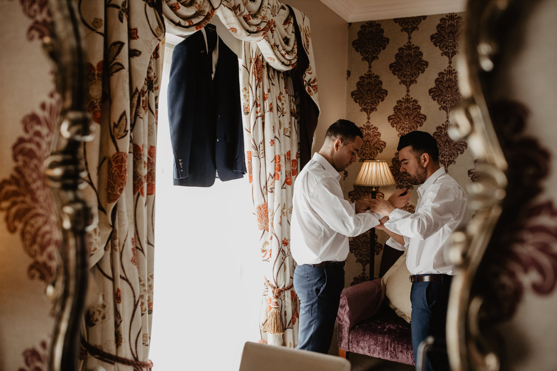Groom and best man, at Clanard Court Hotel, Athy, Co. Kildare by wedding photographer Mario Vaitkus