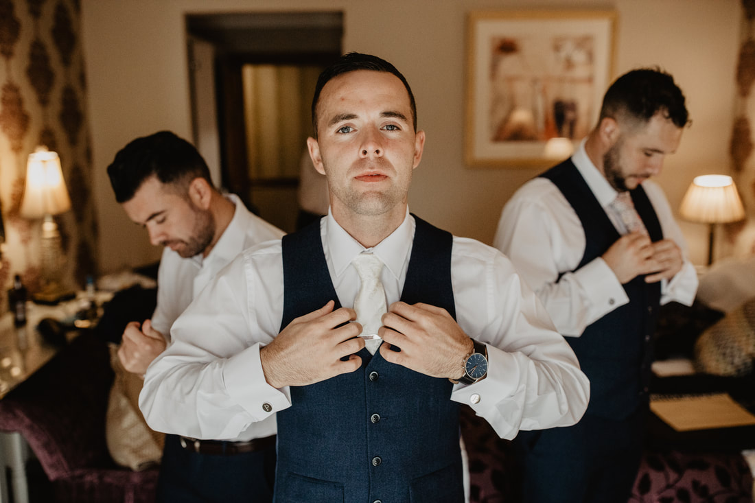 Groom and groomsmen, at Clanard Court Hotel, Athy, Co. Kildare by wedding photographer Mario Vaitkus