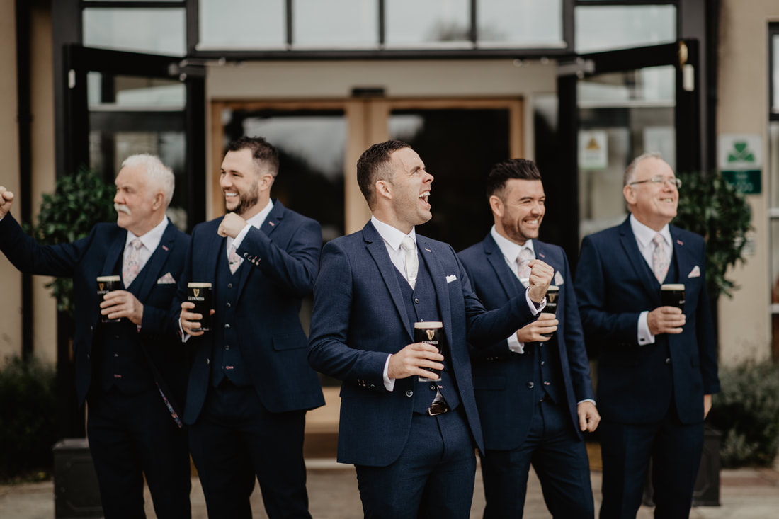 Groomsmen and Guinness at Clanard Court Hotel, Athy, Co. Kildare by wedding photographer Mario Vaitkus