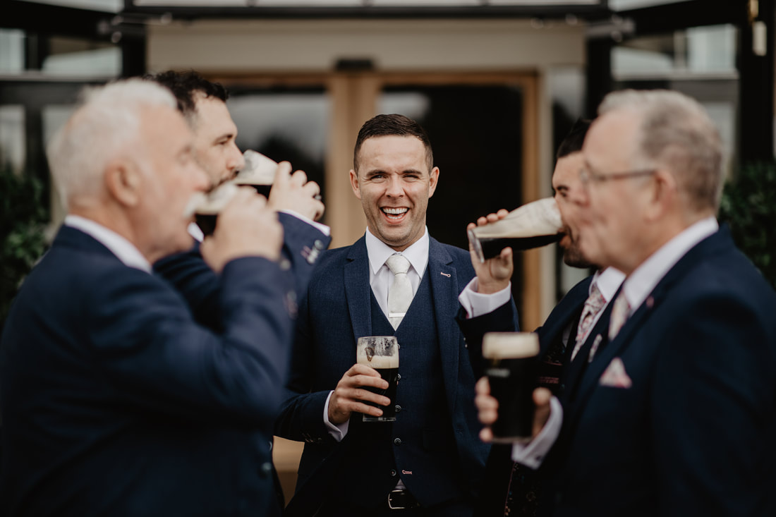 Groom, Groomsmen and Guinness at Clanard Court Hotel, Athy, Co. Kildare by wedding photographer Mario Vaitkus