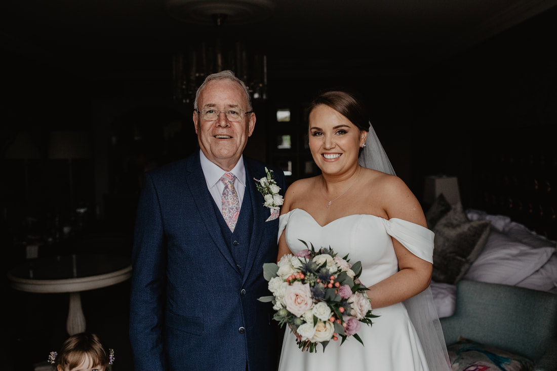 father and bride at Clanard Court Hotel, Athy, Co. Kildare by wedding photographer Mario Vaitkus