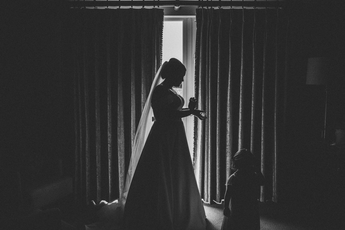 Black and white silhouette at Clanard Court Hotel, Athy, Co. Kildare by wedding photographer Mario Vaitkus