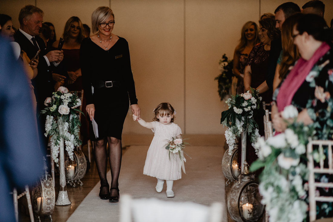 Gosia and flower girl at Clanard Court Hotel, Athy, Co. Kildare by wedding photographer Mario Vaitkus