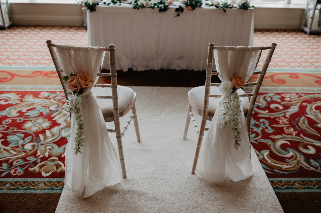Newlyweds chairs at the ceremony at Clanard Court Hotel, Athy, Co. Kildare by wedding photographer Mario Vaitkus