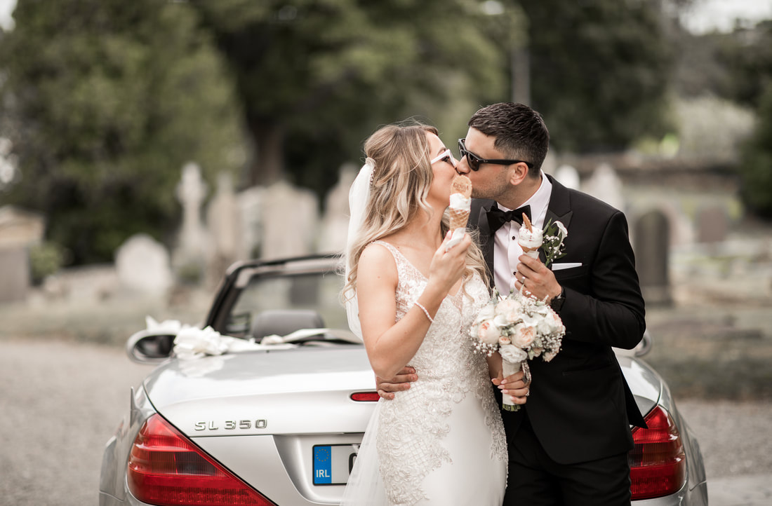 bride and groom kiss, ice-creams and mercedes