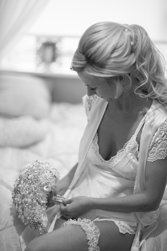B&W morning prep wedding photography